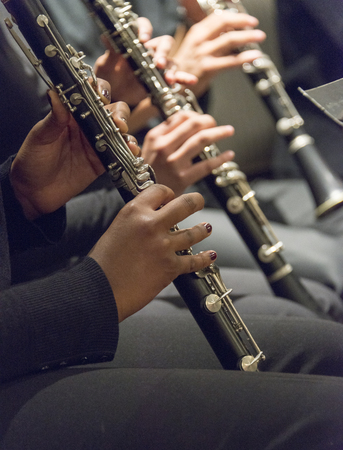 Band of musicians playing clarinet. Close up of musicians playing clarinet. Stock Photo