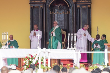 conducting: Scenes of Pope Francis to Havana, specifically the historic Catholic Mass held in the Revolution Square. Papa Francisco in the altar conducting the mass. Editorial
