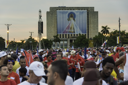 francesco: Scenes of Pope Francis to Havana, specifically the historic Catholic Mass held in the Revolution Square. General public attending the religious mass. Editorial