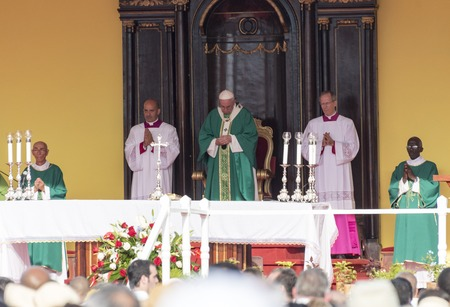 specifically: Scenes of Pope Francis to Havana, specifically the historic Catholic Mass held in the Revolution Square. Papa Francisco in the altar conducting the mass. Editorial