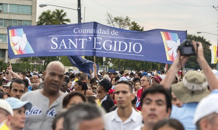 Scenes of Pope Francis to Havana, specifically the historic Catholic Mass held in the Revolution Square. General public attending the religious mass. Editorial