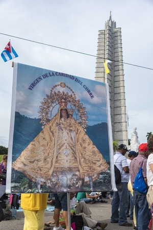 papal audience: Scenes of Pope Francis to Havana, specifically the historic Catholic Mass held in the Revolution Square. Our Lady of Charity of El Cobre in the Revolution Square