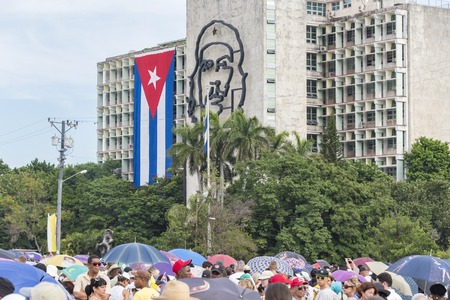 papal audience: Scenes of Pope Francis to Havana, specifically the historic Catholic Mass held in the Revolution Square. General public gathered for the mass contrasting with the Che Guevara sculpture in the MININT building Editorial