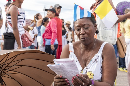 specifically: Scenes of Pope Francis to Havana, specifically the historic Catholic Mass held in the Revolution Square. General public attending the religious mass. Editorial