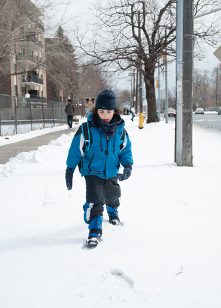 telephone poles: Boy walking through snow.  He is wearing a thick blue jacket, black pants, black gloves, and a black hat.  Several bare trees, telephone poles, a building, a fence, and a shoveled sidewalk make up the background.