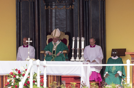papal audience: Scenes of Pope Francis to Havana, specifically the historic Catholic Mass held in the Revolution Square. Papa Francisco in the altar conducting the mass. Editorial