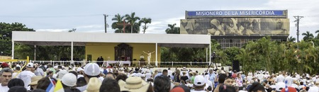 Scenes of Pope Francis to Havana, specifically the historic Catholic Mass held in the Revolution Square. Panorama of the place prepared for the Papa Francisco to address the attendees.