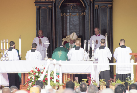 Scenes of Pope Francis to Havana, specifically the historic Catholic Mass held in the Revolution Square. Papa Francisco in the altar conducting the mass. Editorial