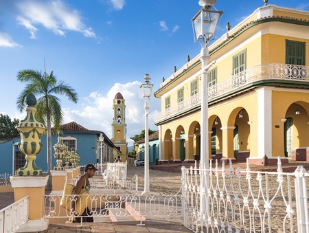 unesco world heritage site: Trinidad de Cuba: Plaza Mayor with Saint Francis Church or Convent which currently is a museum for the Fight Against Bandits.  Colonial Trinidad is one of the oldest villages founded by Spanish and a Unesco World Heritage Site