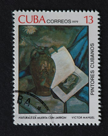 naturaleza: Cuban 1979 stamp on Painters of Cuba series depicting a painting by Victor Manuel, named Naturaleza Muerta con Jarron. The painting shows a book having a womans portrait beside a flower vase.
