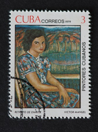 manuel: Cuban 1979 stamp on Painters of Cuba series depicting a portrait of Enmita painted by Victor Manuel.