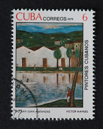 manuel: Cuban 1979 stamp on Painters of Cuba series depicting a painting by Victor Manuel, named Rio San Juan, Matanzas. The painting shows the River San Juan in Matanzas city.