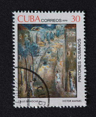 manuel: Cuban 1979 stamp on Painters of Cuba series depicting a painting by Victor Manuel, named Calle de Noche. The painting shows a street at night.