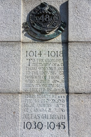 highlanders: The emblem on the memorial of the 48th Highlanders of Canada regiment at Queens Park in Toronto followed by matter in praise of the martyrs. The 48th Highlanders of Canada is a Canadian Forces Primary Reserve infantry regiment based in Toronto. The reg Editorial