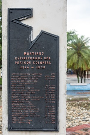 struggles: Details of the Monument ot the revolutionary martyrs of the Sancti Spiritus province. Each column shows a list of the fallen during the different Cuban struggles to obtain independence.