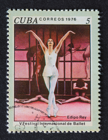 commemorating: Cuban 1976 stamp commemorating the International Ballet Festival and depicting a scene from the ballet Edipo Rey.