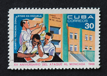 barrack: Cuban 1968 stamp commemorating the 15th anniversary of the attack on Moncada. The stamp shows a barrack which was converted to school. Editorial