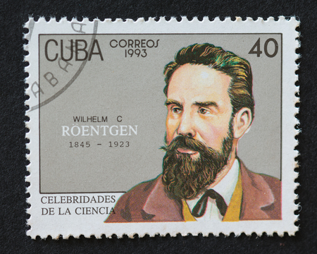 Cuban 1993 stamp from the series 'Celebrities of Science' commemorating the life of Wilhelm C Roentgen. Wilhelm C Roentgen (1845- 1923), was a German physicist, who discovered X-rays for which he got the first Nobel Prize in Physics in 1901. Imagens - 50893289