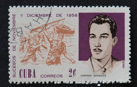 Cuban 1966 stamp depicting the events of November and December 1956. The stamp shows soldiers alighting out of the yatch Granma and portrait of revolutionary, Candido Gonzalez. In November 1956, Fidel Castro along with other leaders set sail from Mexico