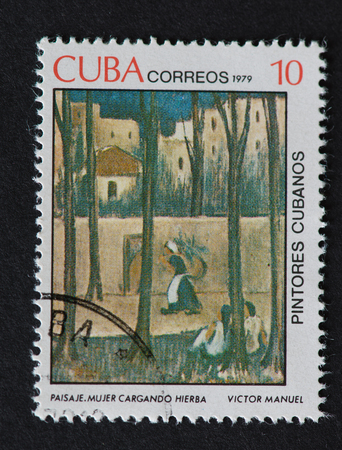 mujer: Cuban 1979 stamp on Painters of Cuba series depicting a painting by Victor Manuel, named Paisaje. Mujer Cargando Hierba. The painting shows a woman carrying grass. Editorial