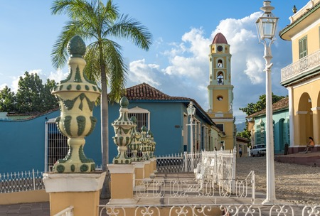 world heritage site: Trinidad de Cuba: Plaza Mayor with Saint Francis Church or Convent which currently is a museum for the Fight Against Bandits.  Colonial Trinidad is one of the oldest villages founded by Spanish and a Unesco World Heritage Site