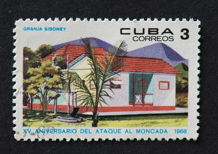 15th: Cuban 1968 stamp commemorating the 15th anniversary of the attack on Moncada. The stamp shows a house in Granja Siboney, Santiago de Cuba.