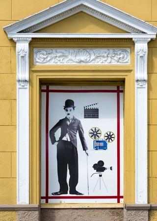 Conrado Benitez Cinema theater in Plaza San Francisco, Sancti Spiritus, Cuba. Antique design with image of Charlie Chaplin on the facade of the building. The theater is named after a voluntary teacher Conrado Benitez Garcia, who also served as an informa Editorial