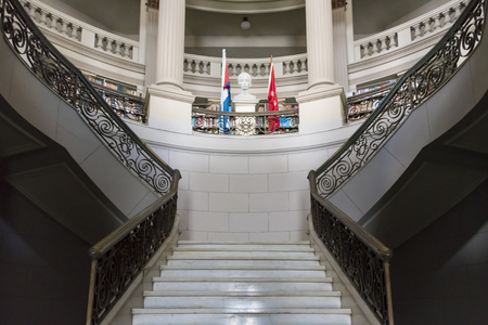 martinez: Interior architecture at Ruben Martinez Villena library in Sancti Spiritus, Cuba: Staircase leading to the upper floors and other architectural details.  The library is one of the most beautiful buildings in Sancti Spiritus and holds valuable collections  Editorial