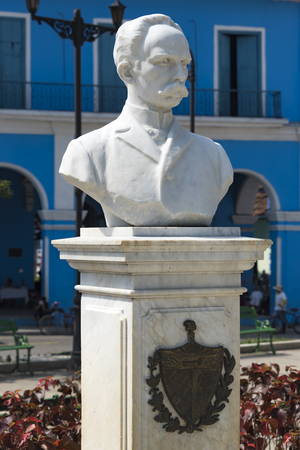 referred: Bust of Jose Marti at Parque Serafin Sanchez, Sancti Spiritus, Cuba.  Jose Marti is a Cuban national hero and is referred to as the Apostle of Cuban Independence.