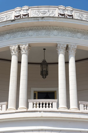 martinez: Colonial architecture in Cuba: Vintage design and pillars on the facade of the Ruben Martinez Villena library in Sancti Spiritus, Cuba.  The library is one of the most beautiful buildings in Sancti Spiritus and holds valuable collections of books and othe