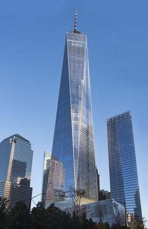 One World Trade Center building in New York city during day time. The 104-story landmark is the tallest skyscraper in the Western Hemisphere, and the fifth-tallest in the world.