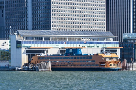 manhattans: New York port: Manhattan cruise terminal or cruise port with skyscrapers in the background.  New York Cruise Terminal is a terminal for ocean-going passenger ships on Manhattans West Side, in Hells Kitchen. Editorial