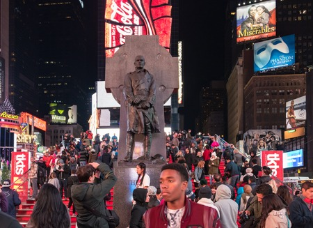 New York Scenes Francis P. Duffy statue in Times Square, New York City during night time  Francis Patrick Duffy (May 2, 1871 � June 27, 1932) was a Canadian American soldier, Roman Catholic priest and military chaplain.Duffy served as chaplain for the 69t