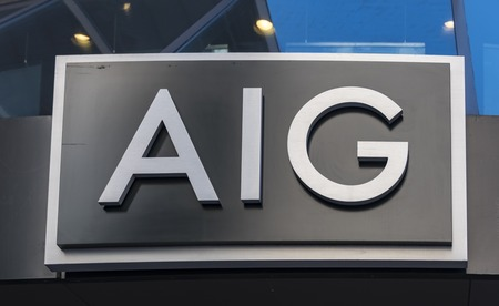 AIG or American International Group signage on its building in New York.  AIG is an American multinational insurance corporation with operations in 130 countries across the world. Editorial