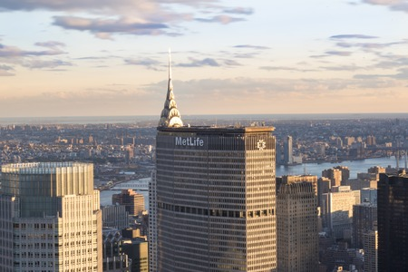 providers: New York tours and attractions: Metlife building standing tall in the city scape of New York City, Unites States.  MetLife is among the largest global providers of insurance, annuities, and employee benefit programs in over 60 countries.