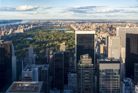 New York tours and attractions: City view from the  Rock observation center is breathtaking.  New York has architecturally significant buildings in a wide range of styles spanning distinct historical and cultural periods. Stock Photo