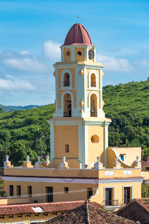 bandits: Trinidad de Cuba a travelling landmark in the Caribbean: Aerial view of Trinidad skyline including the Convent of Saint Assisi which is currently used as the Museum of the Fight Against Bandits