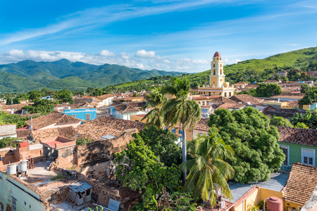 cuba: Trinidad de Cuba a travelling landmark in the Caribbean: Aerial view of Trinidad skyline including the Convent of Saint Assisi which is currently used as the Museum of the Fight Against Bandits