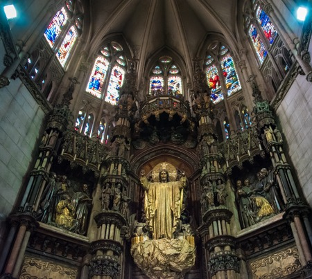 Cuba tourism: Reina street Catholic Cathedral interior details of stain glass and architecture. The church located in Havana is one of the most beautiful in the Caribbean Island and a tourist landmark. The temple was visited by Pope Francis in his recent  Editorial