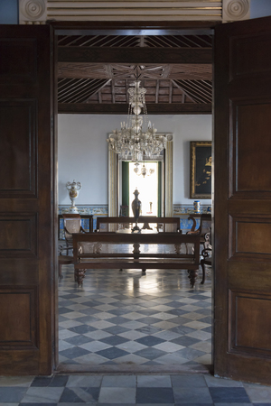 splendor: Cuba tourism: Trinidad, Brunet Palace interior details. The palace shows the splendor in which sugar producers lived during the Spanish Colonial period. Trinidad de Cuba is a Unesco World Heritage Site Editorial