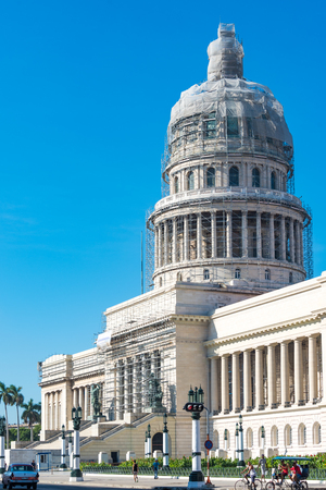 capitolio: Capitol Building or Capitolio in Havana,Cuba. The landmark is being revitalzed by a German company. Currently, the science academy the building use to be the seat of the National Govenment in the island.