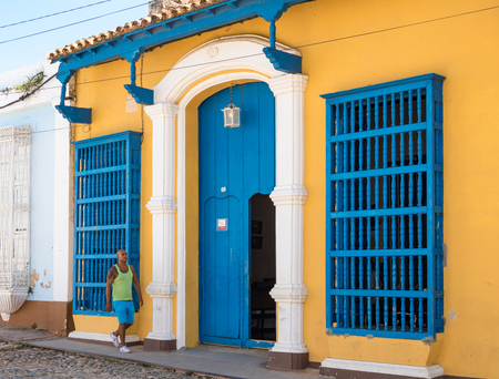 Cuba Tourism: Trinidad and its people. Everyday scene in the Unesco World Heritage Stie. A look to the vintage colonial village and the Cuban people living a normal live in there