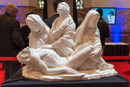 revitalization: New stone work in Saint Michael Cathedral in Toronto which opens its doors to the public after four years of reconstruction.  In the event, artists and architects were explaining visitors the delicate process of revitalization. The building is part of Tor Editorial