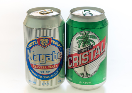 cristal: Cuba made products: Mayabe and Cristal beer tin cans produced in Cuba.  Mayabe and Cristal both brands of beer are produced by Cerveceria Bucanero SA (CBSA ). Both the brands are popular and sold all over Cuba.