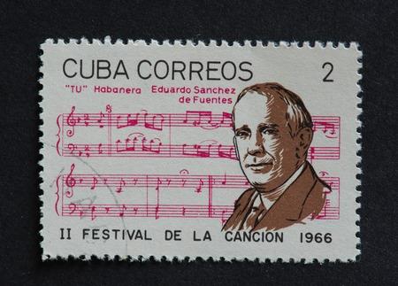 poststempel: Cuban 1966 Stempel auf Tu Habanera von Eduardo Sanchez de Fuentes. Marke zum Gedenken an zweite Festival de la Cancion von 1966. Eduardo Sanchez de Fuentes war ein kubanischer Komponist und Autor der Bücher über die Geschichte der kubanischen Volksmusik. Editorial