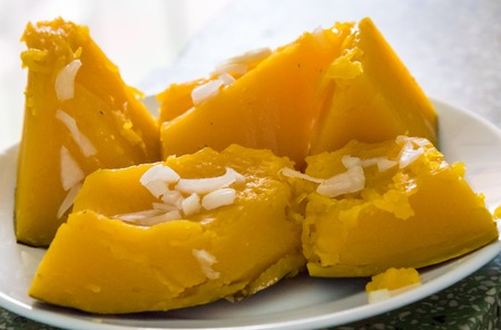 Cuban low calorie cuisine: Pumpkin cooked in Cuban style by boiling it with onions and vegetable oil, making it a healthy and low calorie diet.