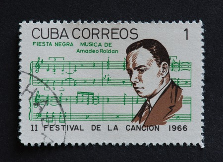 poems: Cuban 1966 stamp on Fiesta Negra by Amadeo Roldan. Stamp commemorating second Festival de la Cancion of 1966.  Amadeo Roldan was a Cuban composer and violinist. Fiesta Negra was one of his orchestral poems.