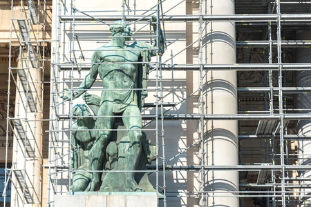 revitalization: Preserving heritage: Revitalization work on El Capitolio in Havana, Cuba using scaffolding  frames.  El Capitolio, or National Capitol Building in Havana, Cuba, was the seat of government in Cuba until after the Cuban Revolution in 1959, and is now home t