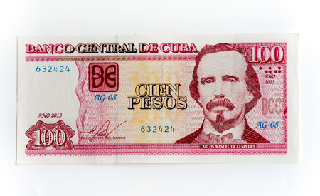 pesos: Different denominations of CUP: Cien pesos or hundred Cuban pesos note depicting the portrait of Carlos Manuel de Cespedes.  The Cuban Peso is one of two official currencies in use in Cuba, the other being the convertible peso.  In a move to unite the two