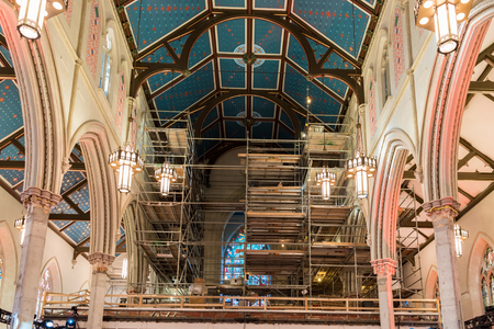 revitalization: Saint Michael Cathedral in Toronto opens its doors to the public after four years of reconstruction.  In the event, artists and architects were explaining visitors the delicate process of revitalization. The building is part of Toronto heritage.